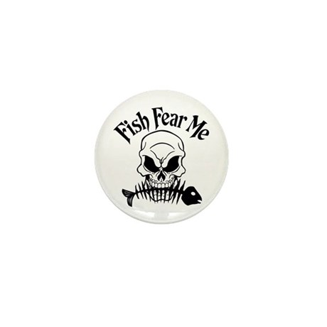 Fish Fear Me Skull Mini Button (10 pack)