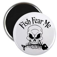 "Fish Fear Me Skull 2.25"" Magnet (10 pack)"