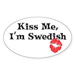 Kiss Me, I'm Swedish Oval Sticker