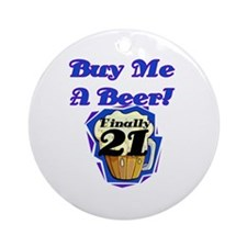Beer 21st Birthday Ornament (Round)
