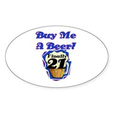 Beer 21st Birthday Oval Decal