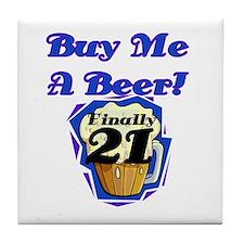 Beer 21st Birthday Tile Coaster