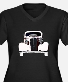 Classic Car Women's Plus Size V-Neck Dark T-Shirt