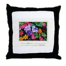 Colorful Flower Pot Throw Pillow