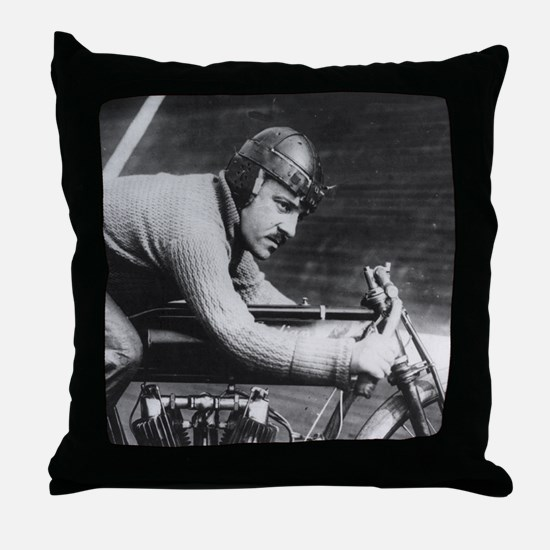Vintage Motorcycle Racer Throw Pillow