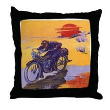 Vintage Motorcycle Throw Pillow