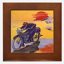 Vintage Motorcycle Framed Tile