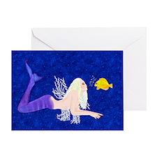 Mermaid kissing fish Greeting Card