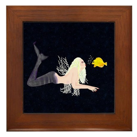 Mermaid kissing fish Framed Tile