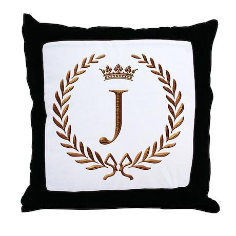 Napoleon initial letter J monogram Throw Pillow
