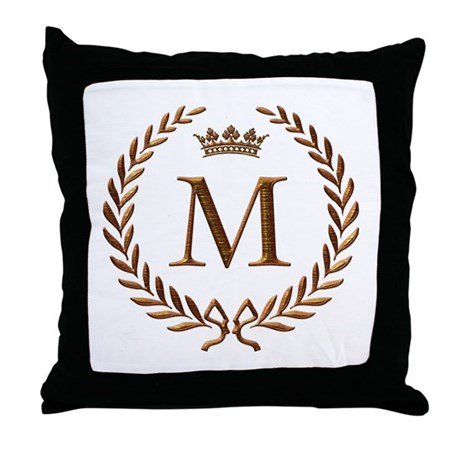 Letter M Throw Pillow : Napoleon initial letter M Throw Pillow by jackthelads