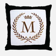 Napoleon initial letter M Throw Pillow