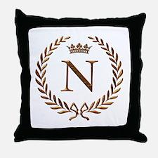 Napoleon initial letter N monogram Throw Pillow