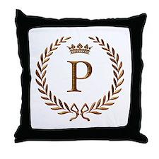 Napoleon initial letter P monogram Throw Pillow