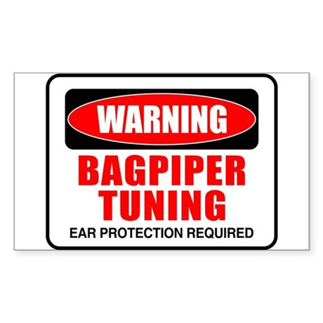 Warning Bagpiper Tuning Rectangle Sticker