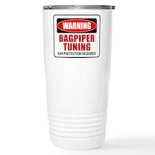 Warning Bagpiper Tuning Travel Mug
