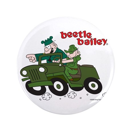 "Beetle and Sarge in Jeep 3.5"" Button"