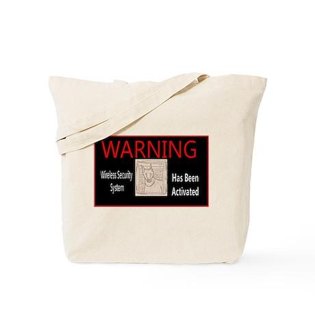 WARNING - Wireless Security Sys Doberman Tote Bag