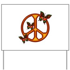 Orange Butterflies Peace Sign Yard Sign