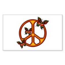 Orange Butterflies Peace Sign Rectangle Decal