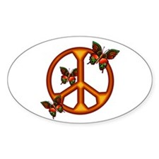 Orange Butterflies Peace Sign Oval Decal