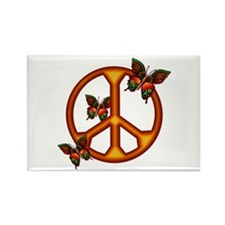 Orange Butterflies Peace Sign Rectangle Magnet