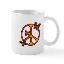 Orange Butterflies Peace Sign Mug