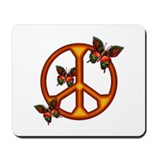 Orange Butterflies Peace Sign Mousepad