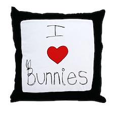 I Heart Bunnies Throw Pillow