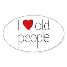 I Heart Old People Oval Decal