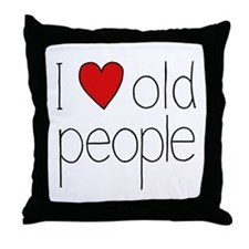 I Heart Old People Throw Pillow