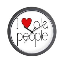 I Heart Old People Wall Clock