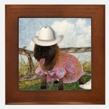 Cowgirl Cairn Terrier Framed Tile