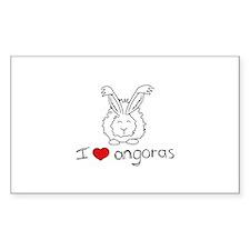 I Heart Angora Rabbits Rectangle Decal
