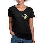 Pirate Egghead Pocket Image Women's V-Neck Dark T-