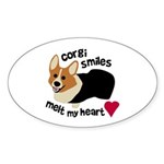 Corgi Smiles RHT Oval Sticker (10 pk)