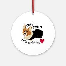 Corgi Smiles RHT Ornament (Round)