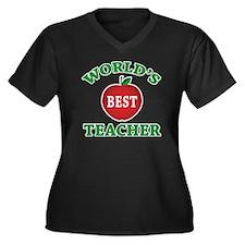 World's Best Teacher Women's Plus Size V-Neck Dark