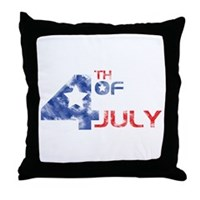 4th July Grunge Throw Pillow