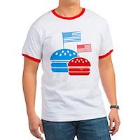 American Flag Burger Ringer T