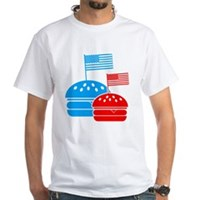 American Flag Burger White T-Shirt