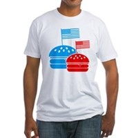 American Flag Burger Fitted T-Shirt