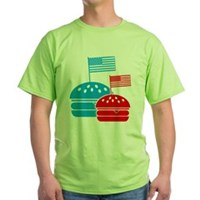 American Flag Burger Green T-Shirt