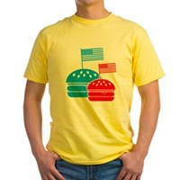American Flag Burger Yellow T-Shirt