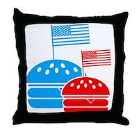 American Flag Burger Throw Pillow