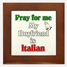 Pray for me my boyfriend is I Framed Tile