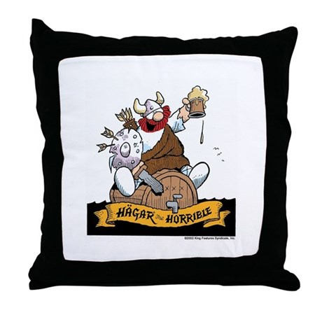 Hagar on Keg Throw Pillow