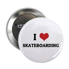 I Love Skateboarding Button
