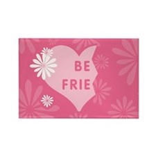 Pink Best Friends Heart Left Rectangle Magnet