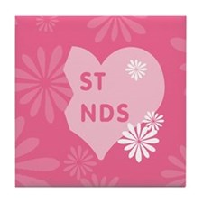 Pink Best Friends Heart Right Tile Coaster